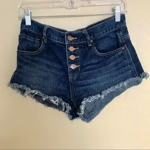 BULLHEAD high waisted cut off fringe denim shorts